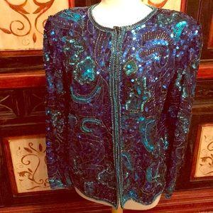 Laurence Kazar VTG sequined/beaded blouse